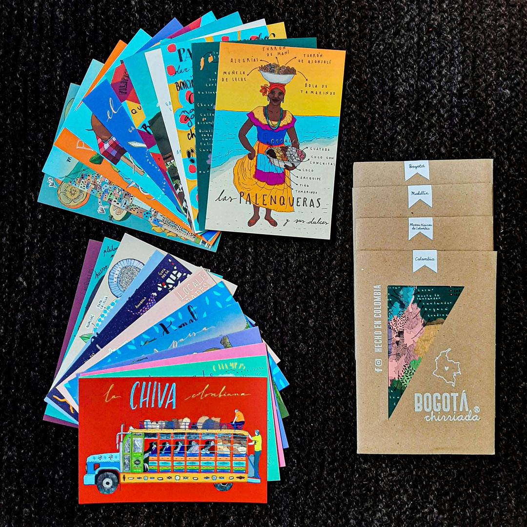 Postales ilustradas con motivos de Colombia
