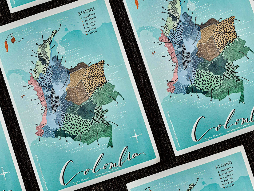 Mapa ilustrado de Colombia