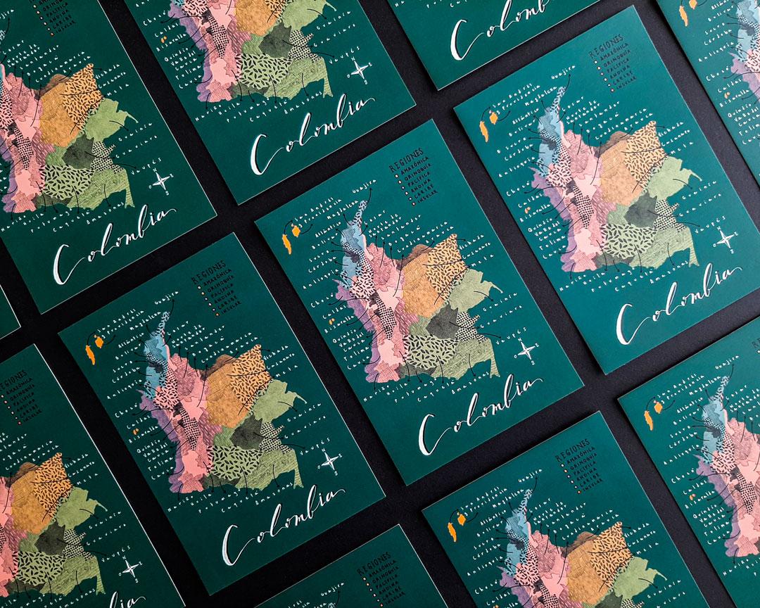 Postal del mapa de Colombia
