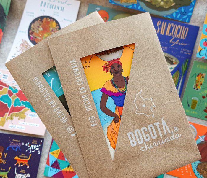 Empaque de las postales de Bogotá Chirriada