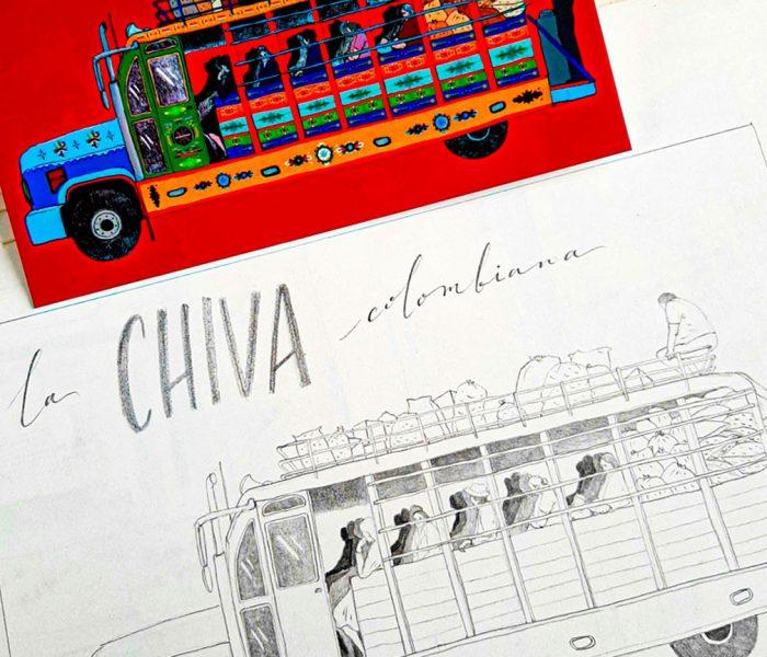 Proceso de la postal de la chiva colombiana